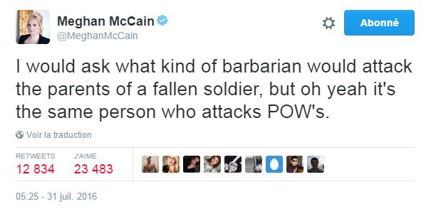 Traduction: Je demanderais bien quel genre de barbare peut attaquer les parents d'un soldat mort au combat, mais oh bien sûr c'est la même personne qui attaque les prisonniers de guerre.