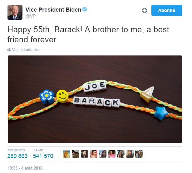 Traduction: Joyeux 55ème anniversaire, Barack ! Un frère pour moi, un meilleur ami pour toujours.