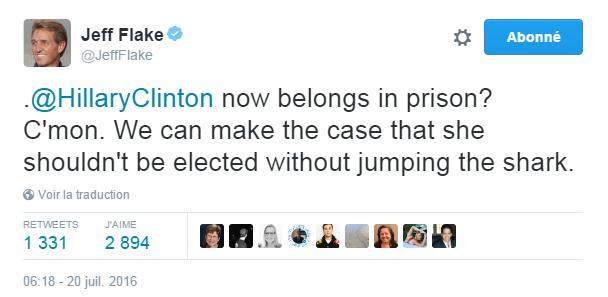 Traduction: Hillary Clinton mérite maintenant la prison? Allons. Nous pouvons expliquer pourquoi elle ne devrait pas être élue sans s'abaisser à cela.