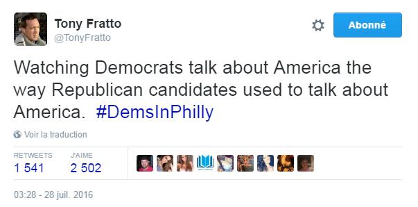 Traduction: En train de regarder les Démocrates parler de l'Amérique comme les candidats républicains avaient l'habitude de parler de l'Amérique.