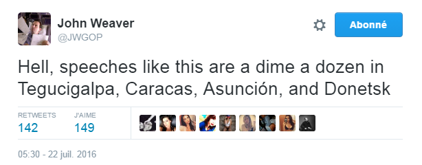 Traduction: Merde, les discours comme celui-là sont légion à Tegucigalpa, Caracas, Asunción, et Donetsk.