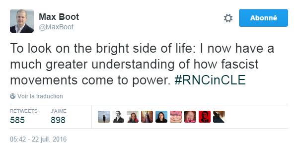 Traduction: Voyons le bon côté des choses: je comprends maintenant beaucoup mieux comment des mouvements fascistes arrivent au pouvoir.