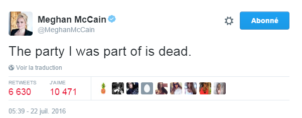 Traduction: Le parti dont je faisais partie est mort.