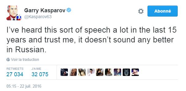 Traduction: J'ai beaucoup entendu ce type de discours ces 15 dernières années et croyez-moi, cela ne sonne pas mieux en russe.