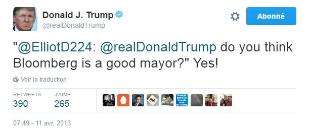 """Traduction: """"Pensez-vous que Bloomberg est un bon maire?"""" Oui !"""