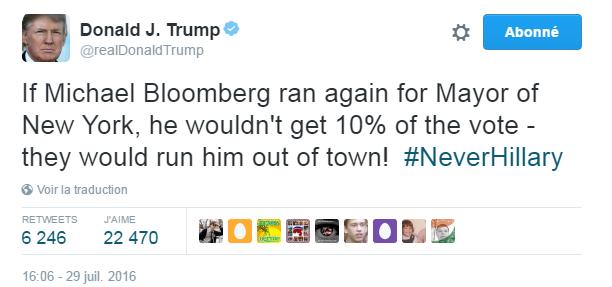 Traduction: Si Michael Bloomberg se présentait à nouveau à la mairie de New York, il n'obtiendrait même pas 10% des voix - ils le feraient quitter la ville en courant!