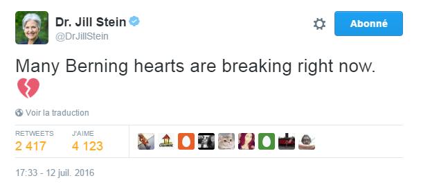 Traduction: Beaucoup de cœurs favorables à Sanders sont en train de se briser en ce moment.