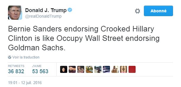 Traduction: Bernie Sanders soutenant Hillary Clinton la malhonnête, c'est comme Occupy Wall Street soutenant Goldman Sachs.