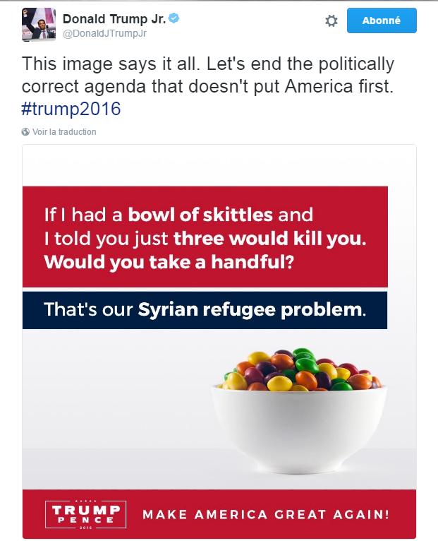 Traduction: Cette image dit tout. Arrêtons l'agenda politiquement correct qui ne place pas l'Amérique en premier.