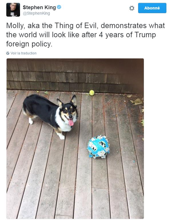 Traduction: Molly, alias la créature du Diable, montre à quoi ressemblera le monde après 4 ans de politique étrangère Trump.