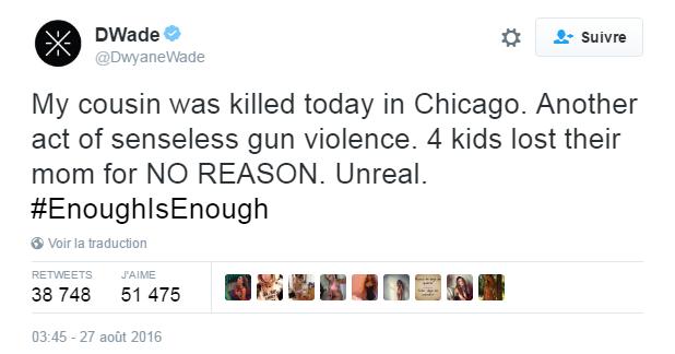 Traduction: Ma cousine a été tuée aujourd'hui à Chicago. Un autre acte de violence absurde. 4 enfants ont perdu leur maman SANS RAISON. Incroyable.