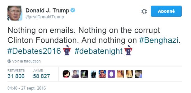 Traduction: Rien sur les e-mails. Rien sur la Clinton Foundation corrompue. Et rien sur Benghazi.