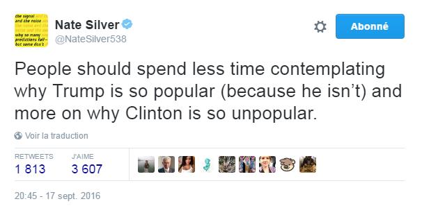 Traduction: Les gens devraient passer moins de temps à se demander pourquoi Trump est si populaire (parce qu'il ne l'est pas) et davantage à se demander pourquoi Clinton est si impopulaire.