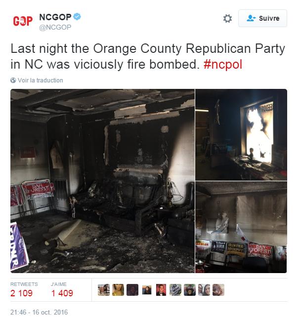 Traduction: Le Parti Républicain du comté d'Orange en Caroline du Nord a été méchamment incendié la nuit dernière.