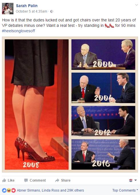 Traduction: Comment se fait-il que les mecs aient eu la chance d'avoir des chaises lors des débats vice-présidentiels de ces 20 dernières années sauf un? Vous voulez un vrai test - essayez de rester debout avec des hauts talons pendant 90 minutes.