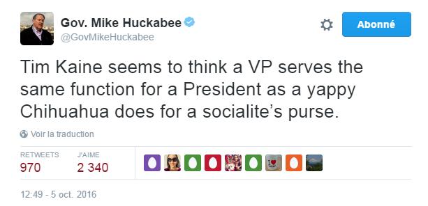 Traduction: Tim Kaine semble penser qu'un vice-président doit avoir la même fonction pour un Président qu'un Chihuahua jappeur pour le sac à main d'une femme mondaine.