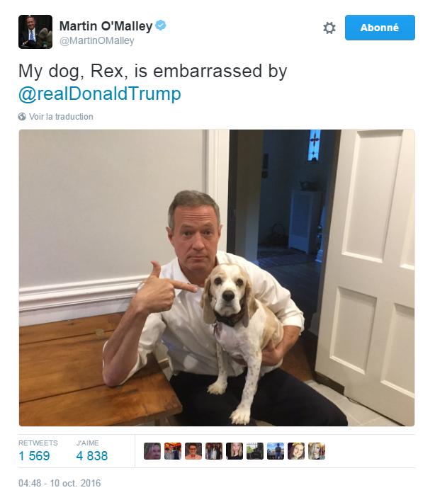 Traduction: Mon chien, Rex, est embarrassé par Donald Trump.