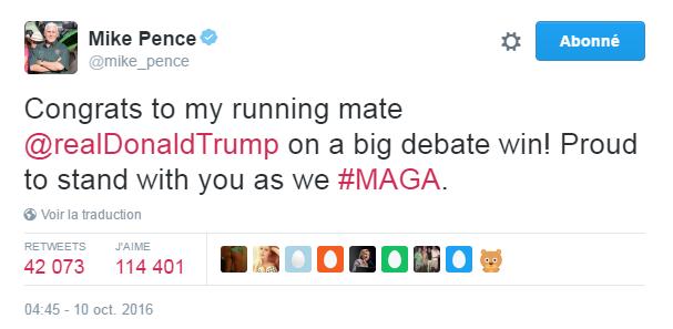 Traduction: Félicitations à mon colistier Donald Trump pour une grande victoire lors du débat! Fier d'être à tes côtés pendant que nous rendons à l'Amérique sa grandeur.