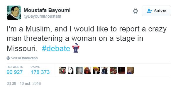 Traduction: Je suis musulman, et je voudrais signaler un homme fou en train de menacer une femme sur un plateau dans le Missouri.