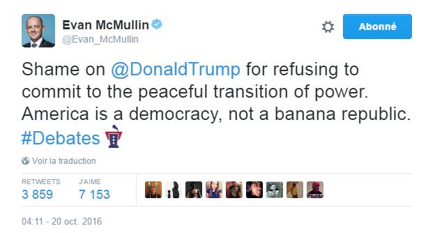 Traduction: Honte à Donald Trump de refuser de s'engager à une passation de pouvoir pacifique. L'Amérique est une démocratie, pas une république bananière.