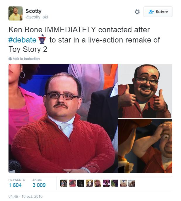 Traduction: Ken Bone immédiatement contacté après le débat pour jouer dans un remake de Toy Story 2