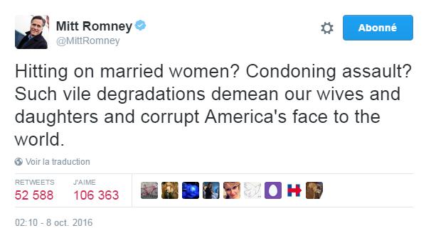 Traduction: Draguer des femmes mariées? Cautionner l'agression? De telles humiliations ignobles avilissent nos femmes et nos filles et pervertissent l'image de l'Amérique à l'étranger.