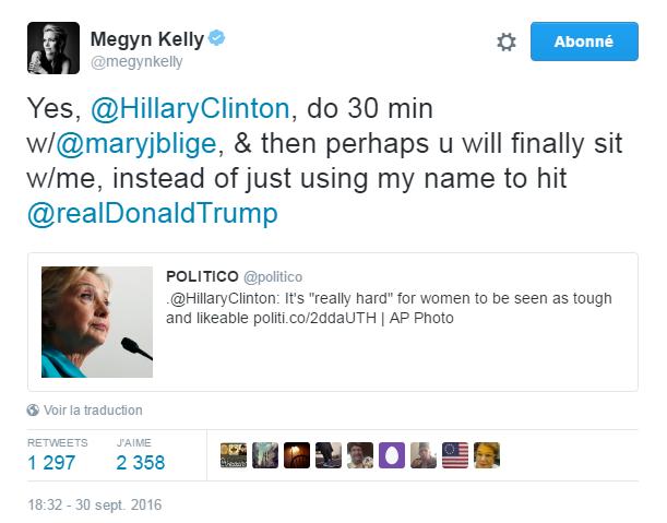 Traduction: Oui, Hillary Clinton, faites une interview de 30 minutes avec Mary J. Blidge, & peut-être qu'ensuite vous m'en accorderez enfin une, au lieu de juste utiliser mon nom pour attaquer Donald Trump