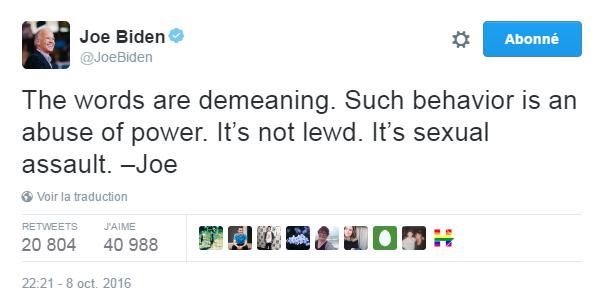 Traduction: Les mots sont dégradants. Un tel comportement est un abus de pouvoir. Ce n'est pas obscène. C'est de l'agression sexuelle.