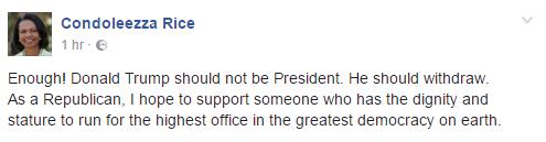 Traduction: Assez! Donald Trump ne devrait pas être Président. Il devrait se retirer. En tant que Républicaine, j'espère pouvoir soutenir quelqu'un ayant la dignité et la stature nécessaires pour occuper le poste le plus important de la plus grande démocratie du monde.