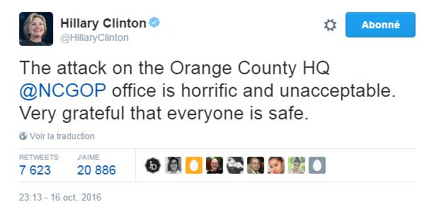 Traduction: L'attaque contre le QG du Parti Républicain du comté d'Orange est terrifiante et inacceptable. Très heureuse que tout le monde soit sain et sauf.