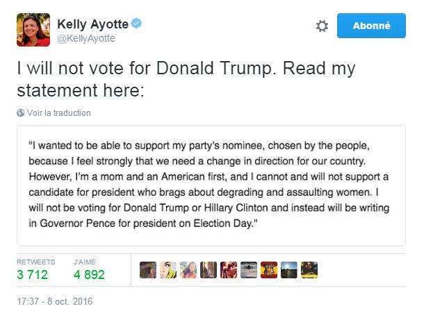 Traduction: Je voulais être capable de soutenir le candidat de mon parti, choisi par les électeurs, parce que je pense vraiment que nous avons besoin d'un changement de direction pour notre pays. Cependant, je suis une mère et une américaine avant tout, et je ne peux pas soutenir et je ne soutiendrai pas un candidat qui se vante d'avilir et d'agresser les femmes. Je ne voterai ni pour Donald Trump ni pour Hillary Clinton et j'inscrirai à la place le nom de Mike Pence sur mon bulletin de vote le jour de l'élection.