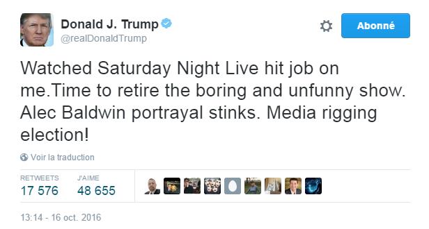 Traduction: J'ai regardé le boulot de Saturday Night Live me concernant. Il est temps de mettre à la retraite ce show ennuyeux et pas drôle. L'interprétation d'Alec Baldwin est pourrie. Les médias en train de truquer l'élection!