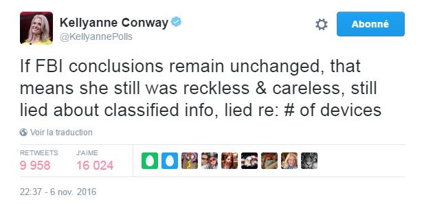 Traduction: Si les conclusions du FBI restent inchangées, cela signifie toujours qu'elle a été imprudente et négligente, qu'elle a menti au sujet des informations classifiées, qu'elle a menti au sujet du nombre d'appareils utilisés