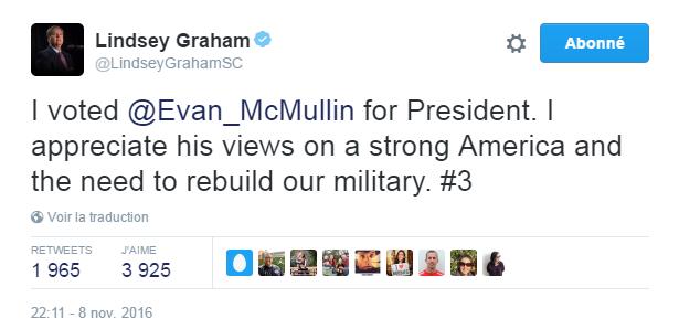 Traduction: J'ai voté pour Evan McMullin à la présidence. J'apprécie ses opinions au sujet d'une Amérique forte et du besoin de reconstruire notre armée.