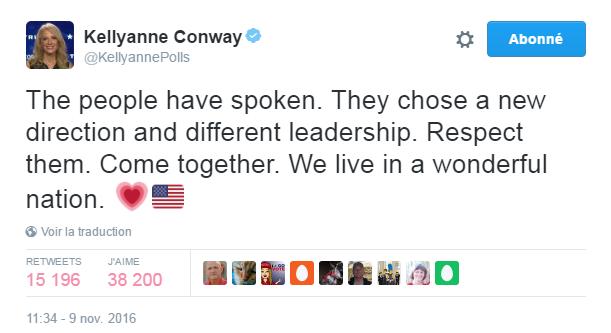 Traduction: Le peuple a parlé. Il a choisi une nouvelle direction et un leadership différent. Il faut le respecter. Se rassembler. Nous vivons dans une nation merveilleuse.