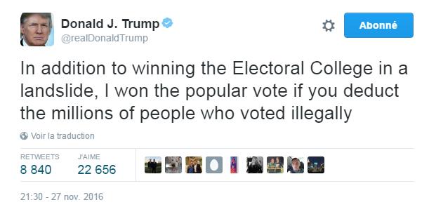 Traduction: En plus d'avoir très largement gagné le Collège Electoral, j'ai aussi gagné le vote populaire si l'on déduit les millions de gens qui ont voté illégalement