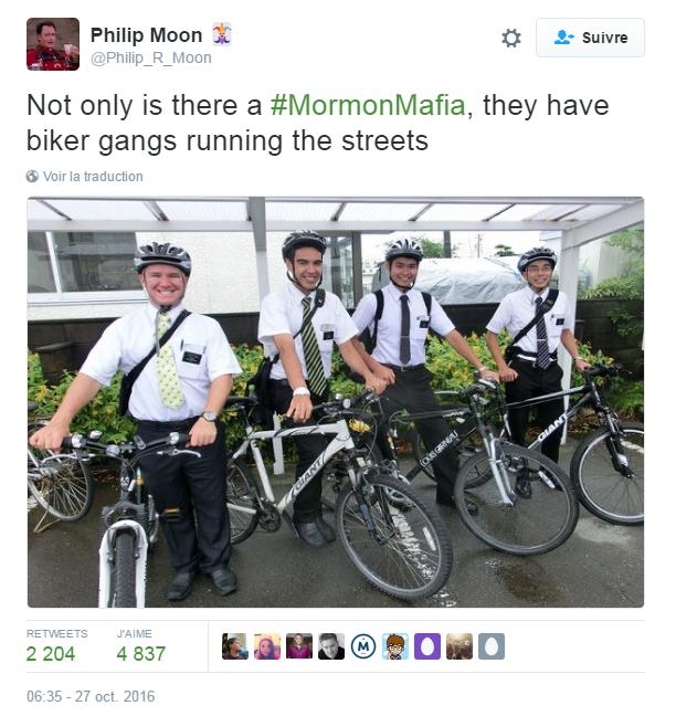 Traduction: Non seulement il y a une mafia mormone, mais en plus ils ont des gangs de cyclistes qui patrouillent dans les rues