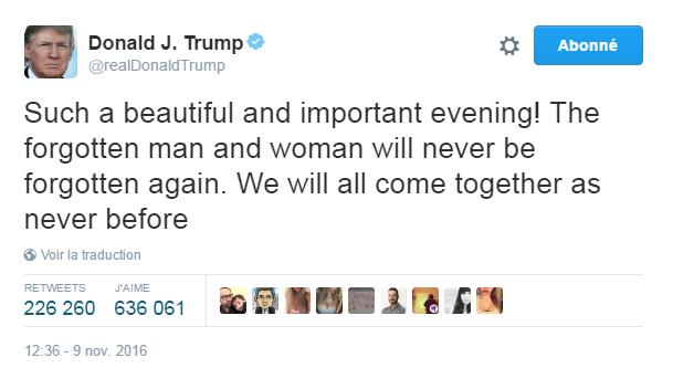 Traduction: Une soirée si belle et importante! Les hommes et femmes oubliés ne seront plus jamais oubliés. Nous allons tous nous rassembler comme jamais auparavant.