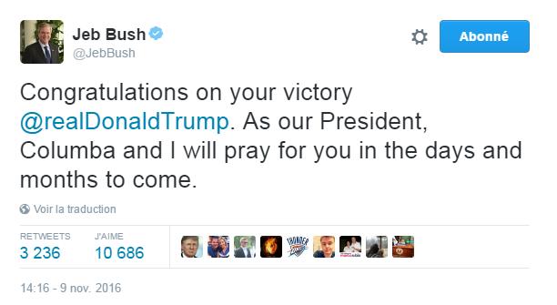Traduction: Félicitations pour ta victoire Donald Trump. En tant que Président, Columba et moi prierons pour toi dans les jours et mois à venir.