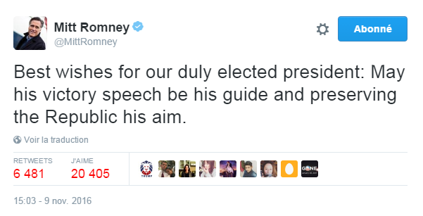 Traduction: Meilleurs vœux à notre président élu: Que son discours de victoire soit son guide et que préserver la République soit son objectif.