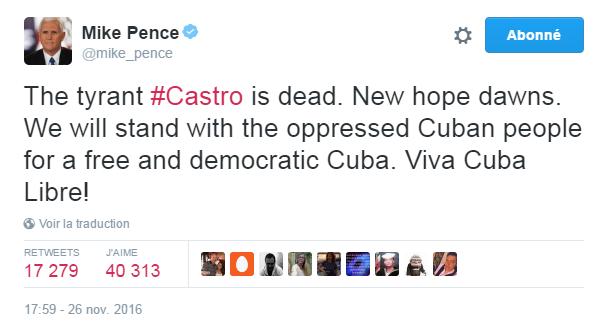 Traduction: Le tyran Castro est mort. Un nouvel espoir naît. Nous serons aux côtés du peuple cubain opprimé pour un Cuba libre et démocratique. Viva Cuba Libre!