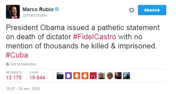 Traduction: Le président Obama a publié un communiqué pathétique sur la mort du dictateur Fidel Castro sans mentionner les milliers de personnes qu'il a tuées et emprisonnées.