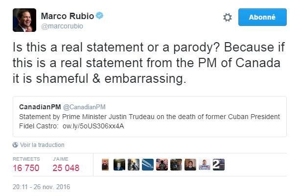 Traduction: Est-ce que ceci est un véritable communiqué ou une parodie? Parce que si c'est un véritable communiqué du premier ministre du Canada, c'est honteux et gênant.
