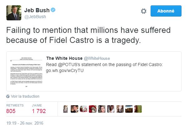 Traduction: Ne pas mentionner les millions de personnes qui ont souffert à cause de Fidel Castro est une tragédie.