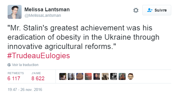 Traduction: La plus grande réussite de Mr. Staline a été l'éradication de l'obésité en Ukraine grâce à ses réformes agricoles innovantes.