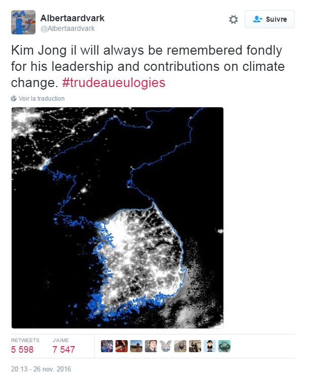 Traduction: Nous nous souviendrons toujours affectueusement de Kim Jong Il pour son leadership et ses contributions à la lutte contre le changement climatique.