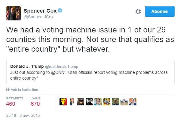 """Traduction: Nous avons eu un problème avec les machines de vote dans 1 de nos 29 comtés ce matin. Je ne suis pas certain que cela puisse être qualifié de """"tout le pays"""" mais peu importe."""