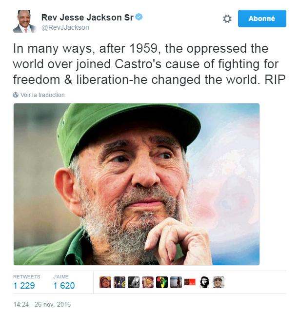Traduction: De plusieurs manières, après 1959, les opprimés du monde ont rejoint la cause de Castro pour lutter pour la liberté & la libération. Il a changé le monde. Qu'il repose en paix.