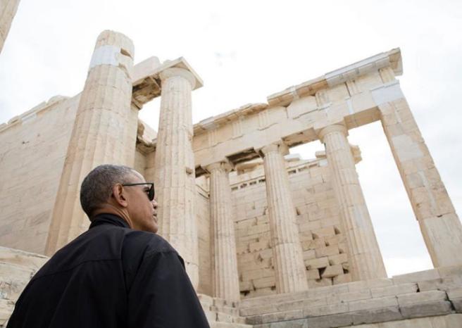 Barack Obama au Parthénon, Athènes (Crédit: Pete Souza)
