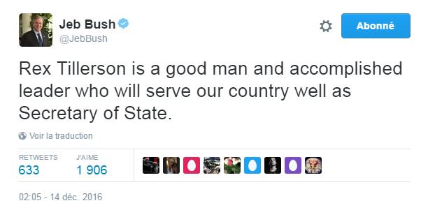 Traduction: Rex Tillerson est un homme bien et un leader accompli qui servira bien notre pays en tant que Secrétaire d'Etat.